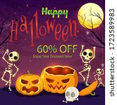 happy halloween 60  discount... | Shutterstock .eps vector #1723589983