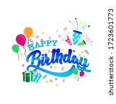 happy birthday typography... | Shutterstock .eps vector #1723601773