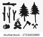 hand drawn vintage rustic woods ...   Shutterstock .eps vector #1723602880