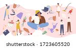 pensive casual woman surrounded ... | Shutterstock .eps vector #1723605520
