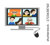 family distance chat with... | Shutterstock .eps vector #1723638760