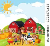 Farm Scene With Many Kids And...