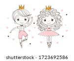 little prince and princess in... | Shutterstock .eps vector #1723692586