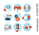set of modern flat design icons ... | Shutterstock .eps vector #172369709