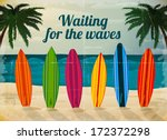 holiday surfboards on the ocean ... | Shutterstock .eps vector #172372298