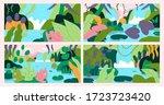 set of hand drawn beautiful... | Shutterstock .eps vector #1723723420
