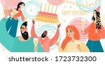 birthday greeting banner... | Shutterstock .eps vector #1723732300