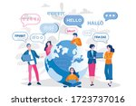 young people chatting in... | Shutterstock .eps vector #1723737016