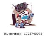 robot fitness instructor vector ... | Shutterstock .eps vector #1723740073