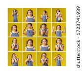 Small photo of Collage 16 photos of different emotions of a baby girl. Schoolgirl cheerful emotional playful minx. Childhood carefree entertainment. The color background is yellow. Blue jeans modern trendy stylish