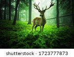 Gigantic deer stands in a magical green foggy forest  - stock photo
