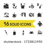 hotel icons set with palm...