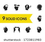 mental icons set with...