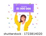 lucky girl win lottery. huge... | Shutterstock .eps vector #1723814020