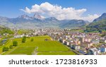 Panorama of the canton of Schwyz. Central Switzerland: Great Mythen 1898 m and Small Mythen 1811 m with the secondary summit Haggenspitz called 1761 m Hakenberge.