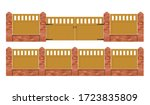 Brick Fence With Wooden Gate...