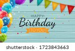 color glossy happy birthday... | Shutterstock .eps vector #1723843663