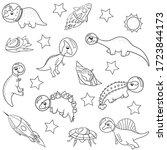 cute dinosaur astronauts in...   Shutterstock .eps vector #1723844173