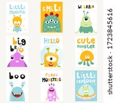 funny space monsters posters... | Shutterstock .eps vector #1723845616
