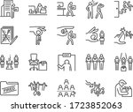 layoff line icon set. included... | Shutterstock .eps vector #1723852063