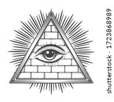 all seeing eye in pyramid drawn ... | Shutterstock .eps vector #1723868989