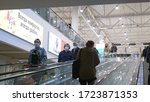 people on the escalator in... | Shutterstock . vector #1723871353