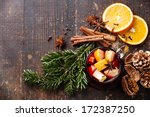 cup of hot wine with spices on...   Shutterstock . vector #172387250