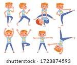 cut little boy doing physical... | Shutterstock .eps vector #1723874593