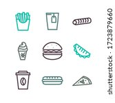 fast food icons set  sign... | Shutterstock . vector #1723879660