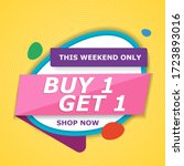buy 1 get 1 free sale tag.... | Shutterstock .eps vector #1723893016