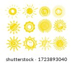 sun icons. funny doodles of sun ... | Shutterstock .eps vector #1723893040