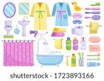 bathroom cartoon elements.... | Shutterstock .eps vector #1723893166
