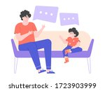 dad and little son are sitting... | Shutterstock .eps vector #1723903999