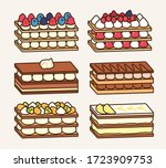 Tasty mille feuille cake set with different flavors: berries, chocolate, fruit, lemon and lime.Traditional french dessert sweet pastry icon vector illustration flat design drawing.
