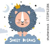 sweet dreams quote with doodles.... | Shutterstock .eps vector #1723912186