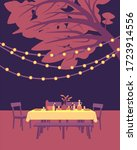 table with tablecloth  utensils ... | Shutterstock .eps vector #1723914556
