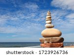 Rock Zen Pyramid Of White And...