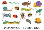 cartoon insects set. funny bugs ... | Shutterstock .eps vector #1723931323