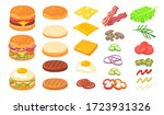 burger ingredients set. wheat... | Shutterstock .eps vector #1723931326