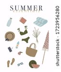 summer essentials set for beach.... | Shutterstock .eps vector #1723956280