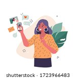 young woman use smartphone and... | Shutterstock .eps vector #1723966483