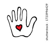 hand with heart in doodle style ...   Shutterstock .eps vector #1723996429