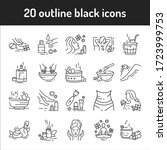 spa black line icons set....