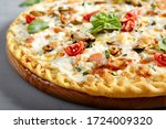 Seafood Pizza On Wooden Board....