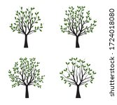 set green trees with leaves.... | Shutterstock .eps vector #1724018080
