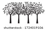 set black trees with leaves.... | Shutterstock .eps vector #1724019106