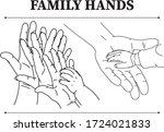 the hands of family members. | Shutterstock .eps vector #1724021833