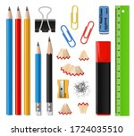 school supplies and office... | Shutterstock .eps vector #1724035510