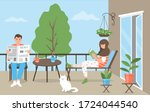 a young couple is relaxing on... | Shutterstock .eps vector #1724044540