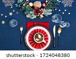 Christmas Table Setup With Dark ...